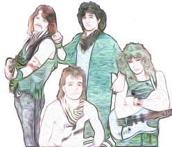 Cartoon drawing of a four piece rock band from the 80's